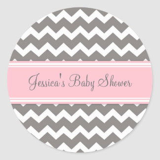 Autocollants gris roses de faveur de baby shower