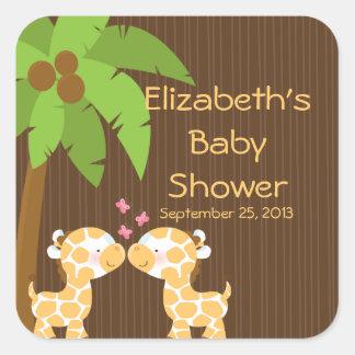 Autocollants multiples de baby shower de girafes
