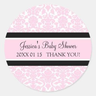 Autocollants roses de faveur de baby shower de dam