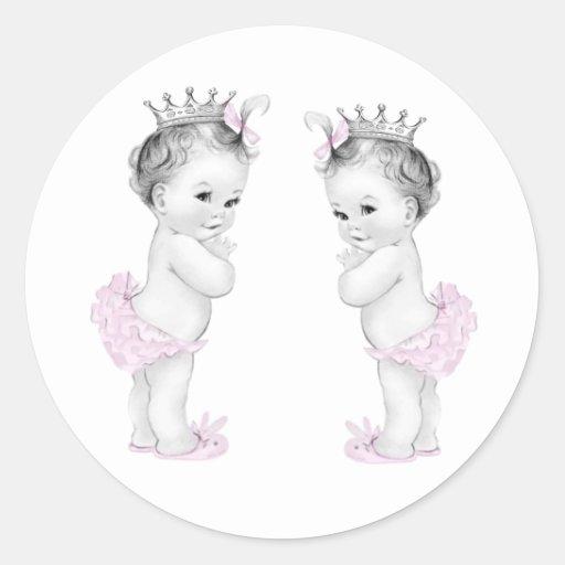 Autocollants roses de princesse baby shower de