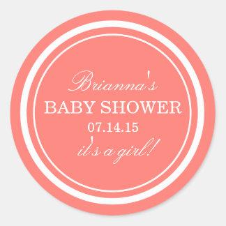 Autocollants roses personnalisés de baby shower de