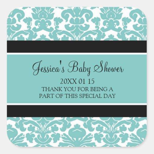 Autocollants turquoises de faveur de baby shower