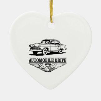 automobile drive older ceramic heart ornament