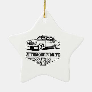 automobile drive older ceramic star ornament
