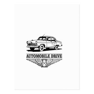 automobile drive older postcard