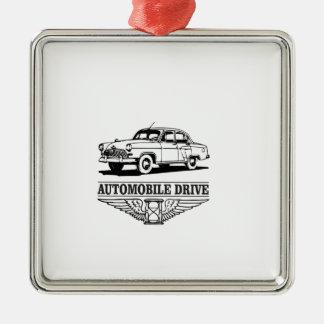 automobile drive older Silver-Colored square ornament