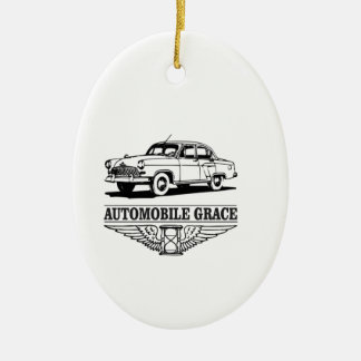 automobile grace fun ceramic oval ornament