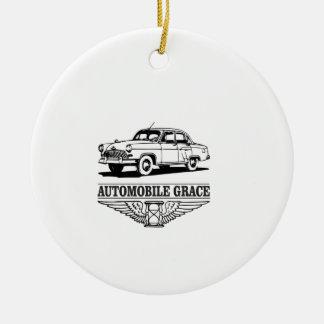automobile grace fun round ceramic ornament
