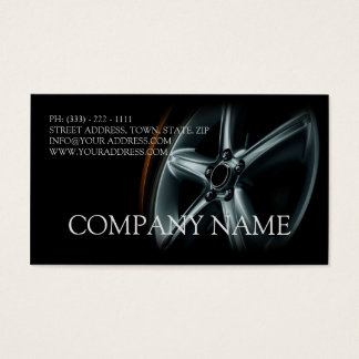 Automotive Black Car Wheel Mechanic Repair Card