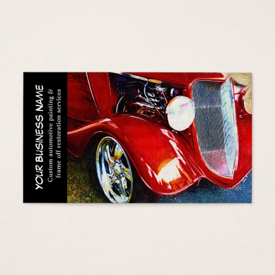 automotive red classic car auto painting biz business card. Black Bedroom Furniture Sets. Home Design Ideas