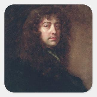 Autoportrait, 1665-70 (huile sur la toile) sticker carré