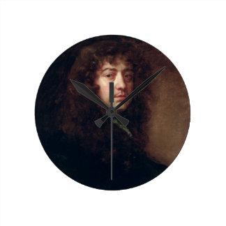 Autoportrait, 1665-70 (huile sur la toile) horloge ronde