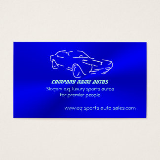 Autosales, Ice-blue Classic Auto, chrome-look Business Card