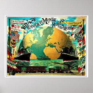 Autour du voyage vintage de voyage du monde posters