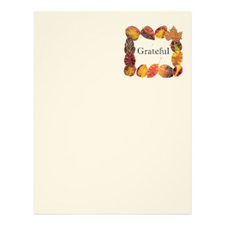 Autum Leaves Framing Grateful Letterhead