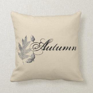 Autumn Acorns & Leaf Farmhouse Throw Pillow