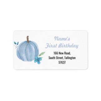 Autumn Address Labels Pumpkin Blue Birthday Boy