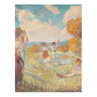 Autumn Allegory (The Art and The Wine) by Nicolae Postcard