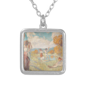 Autumn Allegory (The Art and The Wine) by Nicolae Silver Plated Necklace