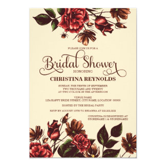 "Autumn and Fall Floral Bridal Shower 5"" X 7"" Invitation Card"