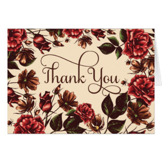 Autumn and Fall Floral Thank You Card