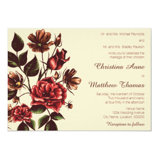 Autumn and Fall Floral Wedding Card