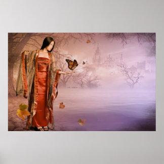 Autumn and Monarch Butterflies Poster