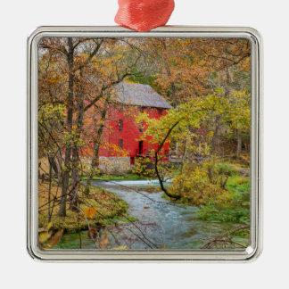 Autumn At Alley Mill Silver-Colored Square Ornament