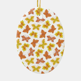 Autumn atmosphere with butterfly-shaped leaves ceramic oval ornament