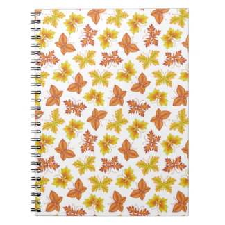 Autumn atmosphere with butterfly-shaped leaves notebooks