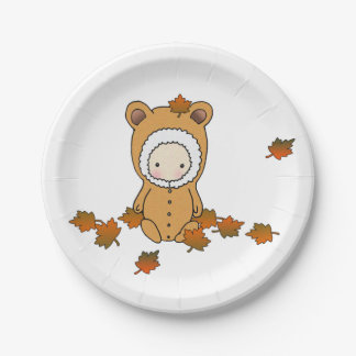 Autumn Baby Sitting in the Leaves Paper Plate