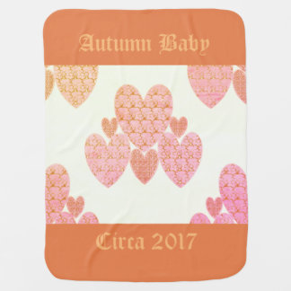 Autumn-Baby-Year-Template-Peachy-Country-Hearts Stroller Blanket