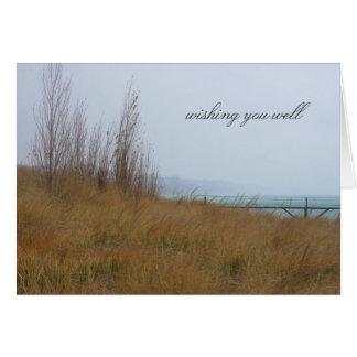 Autumn Beach Grass and Lake Michigan Card