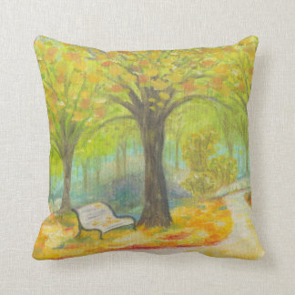 Autumn Bench square pillow