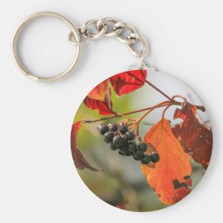 autumn berries basic round button keychain