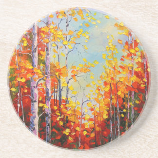 Autumn birches coaster