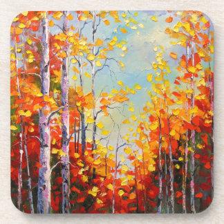 Autumn birches drink coasters