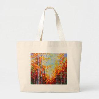 Autumn birches large tote bag