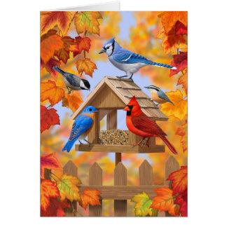 Autumn Bird Feeder Gathering Card