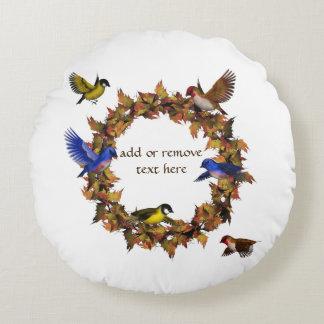 Autumn Birds Round Pillow