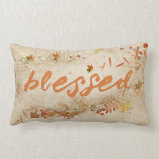 autumn blessed quote with leaves lumbar pillow