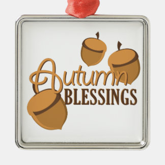 Autumn Blessings Silver-Colored Square Ornament