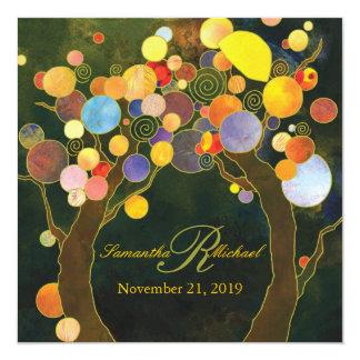 "Autumn Bliss Rustic Tree Theme Wedding 5.25"" Square Invitation Card"