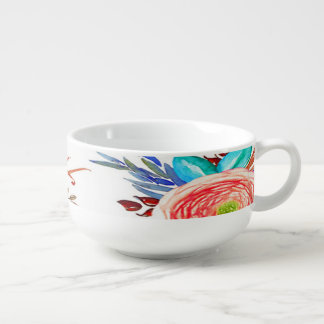 """Autumn Blooms"" Chili Soup Cup Mug Bowl"