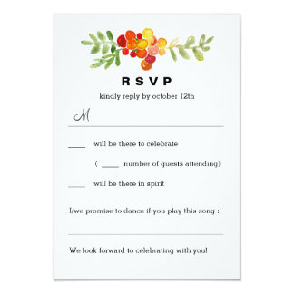 Autumn Blooms Fall Wedding RSVP Reply Cards