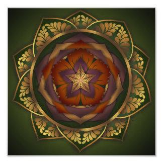 Autumn Blossom Mandala Print by Rachel C. Bemis Photographic Print