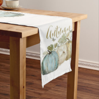 Autumn Blue Pumpkin Table Runner