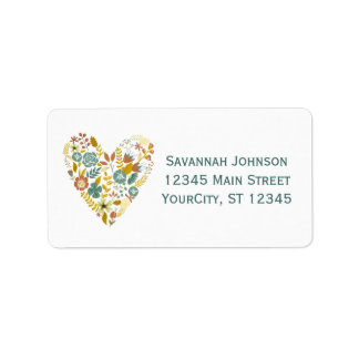Autumn Boho Floral Heart Custom Address Labels