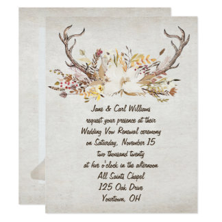 autumn bouquet and deer antlers-vow renewal card