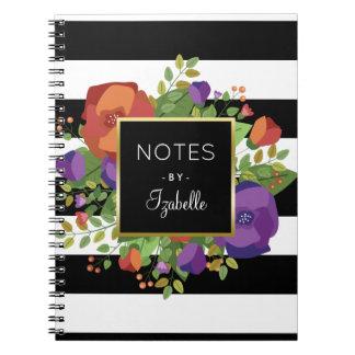 Autumn Bouquet & Chic Stripes Custom Name Notebook